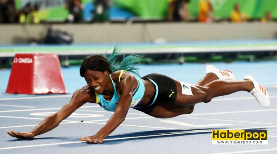 Olimpiyatlarda koşucu kadın bitiş çizgisine balıklama atladı haberi oku