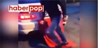Türk bayrağını ayaklarıyla çiğnedi